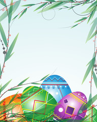 Green branches and bright Easter Eggs