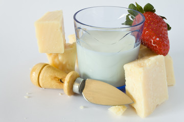 parmesan, milk, knife and strawberry