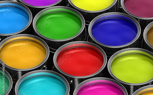 Many paint buckets with different colored paints