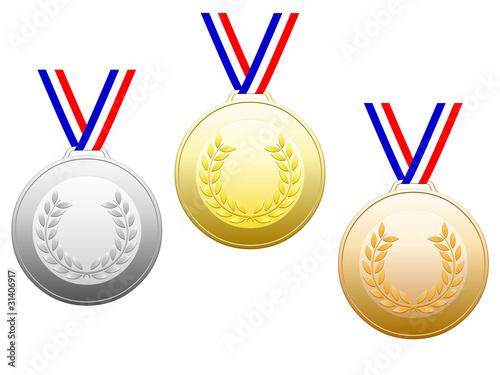 Médailles avec rubans en bleu blanc rouge