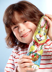 Little boy with Easter present