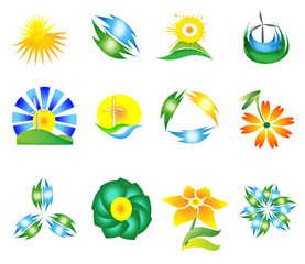 set of modern nature symbol