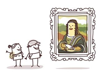 couple of tourists watching the Mona Lisa