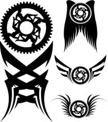 Four different  bike art designs.