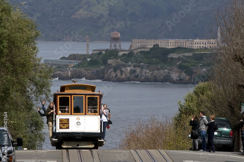 San Francisco cable car with Alcatraz in the background
