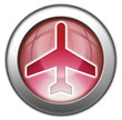 "Red glossy 3D effect button ""Airport / Airplane"""