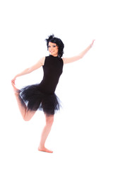 ballerina wearing black tutu