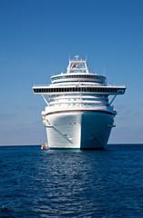 Cruise Ship Anchored in Caribbean Sea