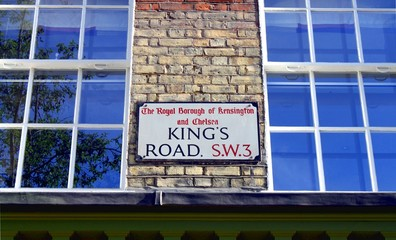 King's Road Street Sign, Chelsea, London, UK