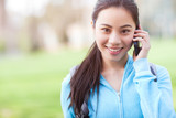Asian student on the phone