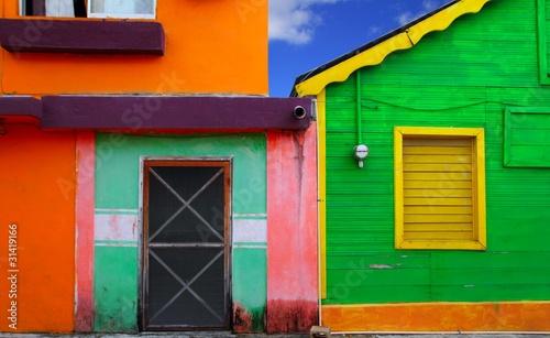 Leinwandbild Motiv colorful Caribbean houses tropical Isla Mujeres