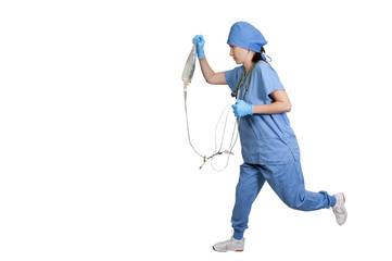 Doctor Holding an IV Bag