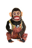 Mechanical chimp with ripped vest, uneven eyes poster