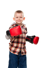 Cute boy in the boxing gloves