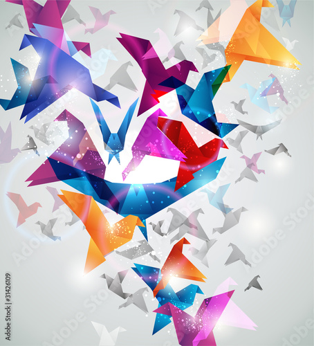 Staande foto Geometrische dieren Paper Flight. Origami Birds. Abstract Vector Illustration.