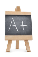 Chalkboard with the letter a and the symbol + written on it