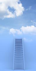 Ladder to sky. Success. 3d illustration on blue background