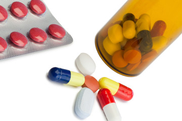 Pills with box pills and serynge