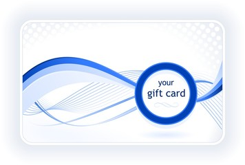 Beautiful gift / business card with wavy pattern in blue