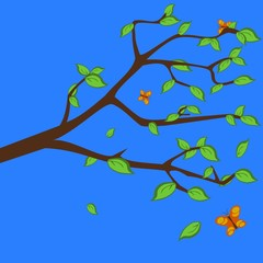 Branch with green leafs, summertime