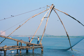 Chinese fishing nets in Fort Сochin, India
