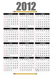 2012 calendar with flower image. Vector illustration