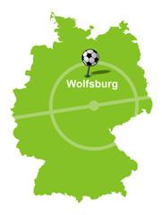 Fußballstadt Wolfsburg Deutschlandkarte