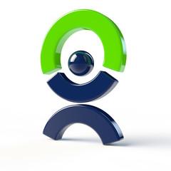 Abstrakter Mensch hält grünen Bogen