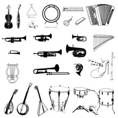 music instruments collection vector