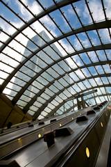 escalator underground station - Canary Wharf