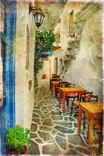 Tradycyjnych greckich tawern. artystyczny obraz