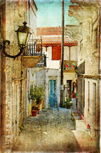 Stare greckie ulice-artystyczny obraz