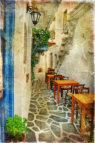 traditional greek tavernas- artistic picture