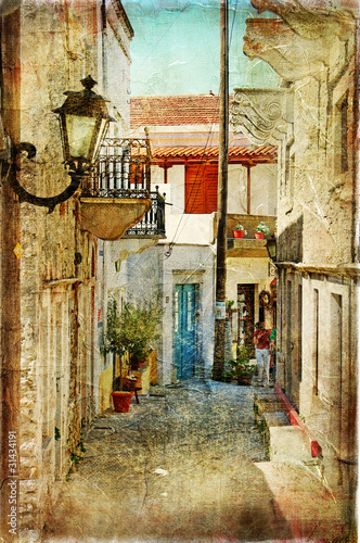 Wall mural old greek streets- artistic  picture
