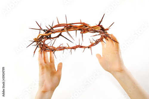 crown of thorns and hands isolated