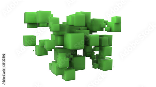 Random array of green cubes