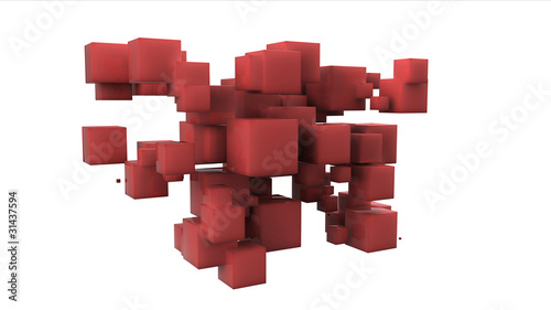 Random array of red cubes