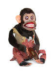 Damaged mechanical chimp with ripped vest, uneven eyes poster
