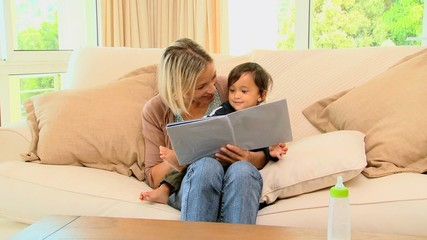 Mother and baby looking at pictrure book
