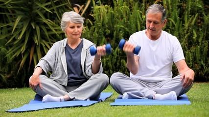 Senior couple doing  dumbell exercises on gym mats