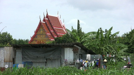 Shack With Temple In Background