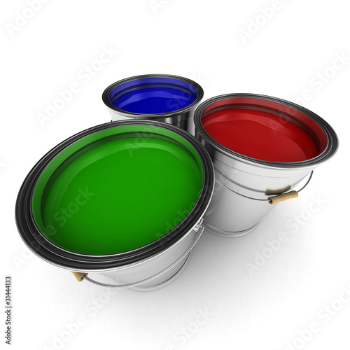 Three paint buckets with blue, red and green paint in them