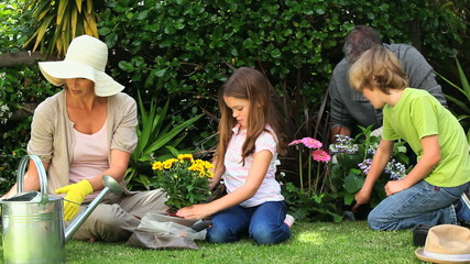 Family doing some gardening together