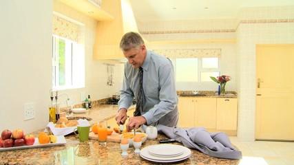 Businessman having his breakfast