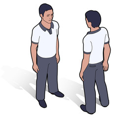 Isometric man in polo shirt front and back poses