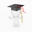 a 3d rendered illustration of a small guy who just graduated