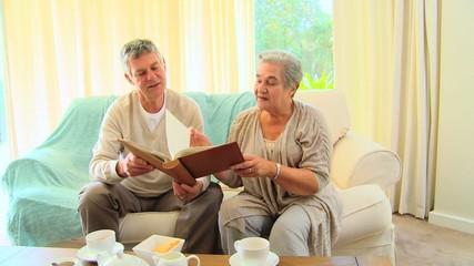 Mature couple sharing memories