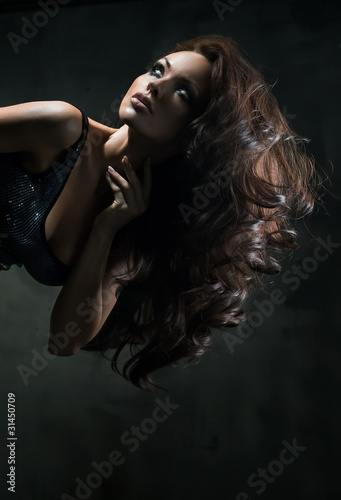 Poster Beautiful woman with extra long hair