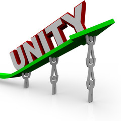 Unity - Team Works Together to Lift Growth Arrow for Success