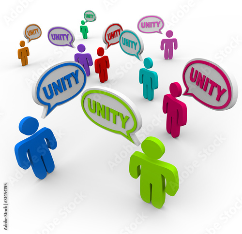 Unity - People Talking in Speech Bubbles Pledging Teamwork
